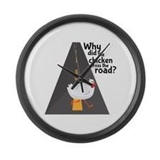 Chicken Crossing Large Wall Clock