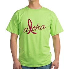 Pink Ribbon Hibiscus Aloha T-Shirt