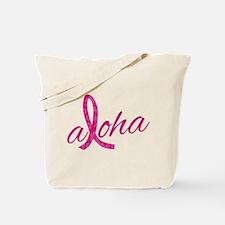 Pink Ribbon Hibiscus Aloha Tote Bag