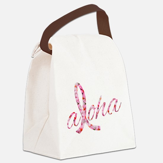 Pink Ribbon Plumeria Flowers Aloh Canvas Lunch Bag
