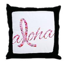 Pink Ribbon Plumeria Flowers Aloha Throw Pillow