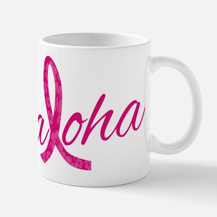 Pink Ribbon Hibiscus Aloha Mugs