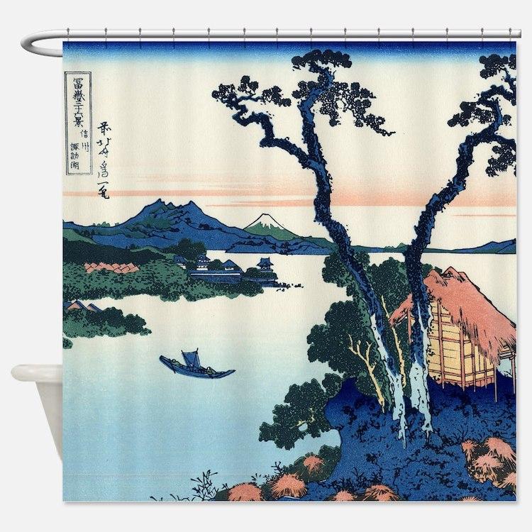 Lake Suwa by Hokusai Shower Curtain