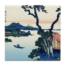 Lake Suwa by Hokusai Tile Coaster