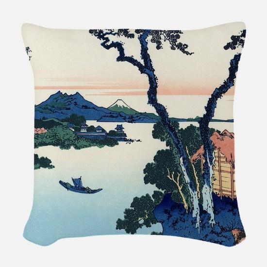 Lake Suwa by Hokusai Woven Throw Pillow