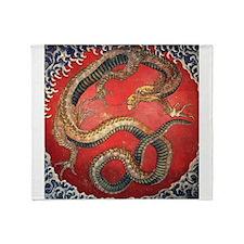 Hokusai Dragon Throw Blanket