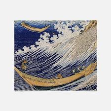 Hokusai Ocean Waves Throw Blanket