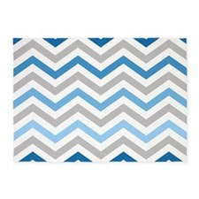 Blue and Gray chevrons 5'x7'Area Rug