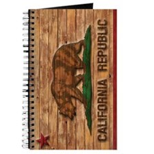 Vintage California Republic Flag Wood Carved Journ