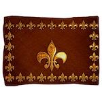 Old Leather with gold Fleur-de-Lys Pillow Sham