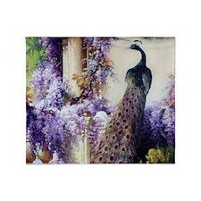 Bidau Peacock, Doves, Wisteria Throw Blanket
