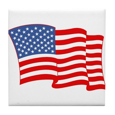 American Flag 4th Of July Tile Coaster