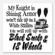 "Black Smoke & 18 Wheels Square Car Magnet 3"" x 3"""