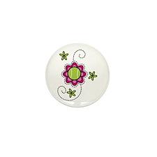Tennis Flower Mini Button (10 pack)