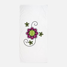 Tennis Flower Beach Towel
