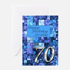 70th Birthday card for a brother,with abstract squ
