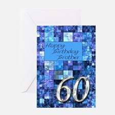 60th Birthday card for a brother,with abstract squ