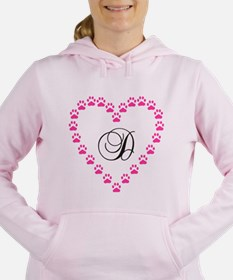 Pink Paw Heart Monogram Letter D Women's Hooded Sw