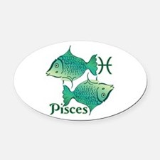 Zodiac Sign Pisces Symbol Oval Car Magnet