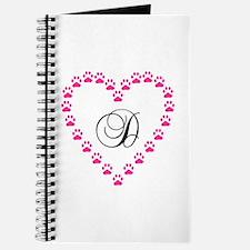 Pink Paw Heart Monogram Letter D Journal