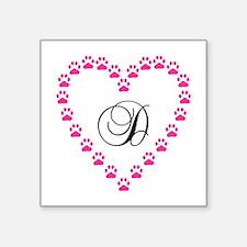 Pink Paw Heart Monogram Letter D Sticker