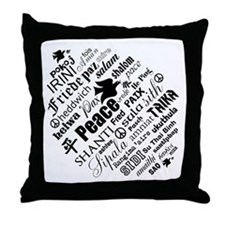 PEACE in different languages Throw Pillow