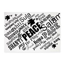 PEACE in different languages 5'x7'Area Rug