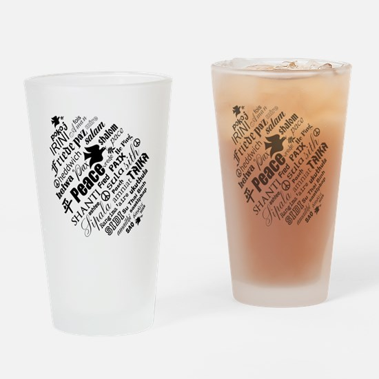PEACE in different languages Drinking Glass