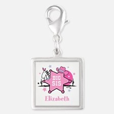 Cowgirl Big Sister Silver Square Charm