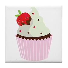 Strawberry Cupcake Tile Coaster