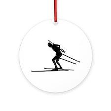 Biathlon skiing Ornament (Round)