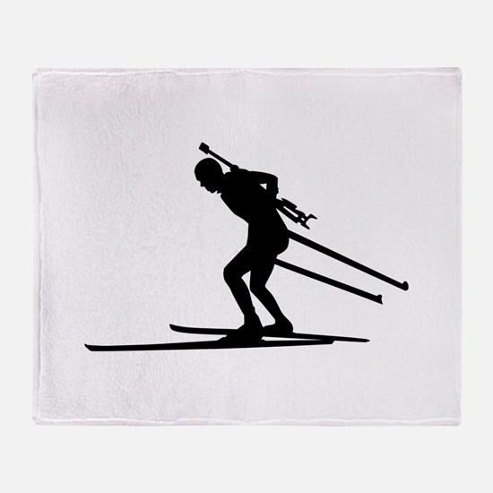 Biathlon skiing Throw Blanket