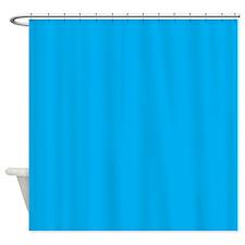 Azure Blue Solid Color Shower Curtain