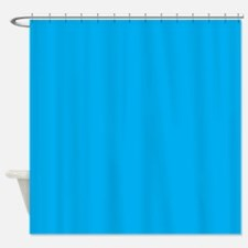 Azure Blue Solid Color Shower Curtain