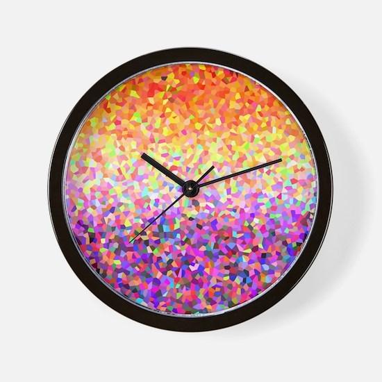 Orange Purple Sparkle Wall Clock