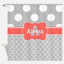 Gray Coral Dots Chevron Personalized Shower Curtai