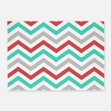 Turquoise, gray and red chevrons. 5'x7'Area Rug