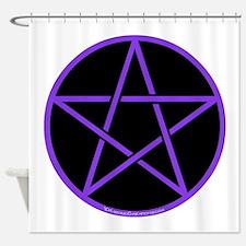 Purple/Black Pentagram Shower Curtain