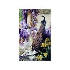 Bidau Peacock, Doves, Wisteria 3'x5' Area Rug