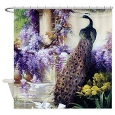 Bidau Peacock, Doves, Wisteria Shower Curtain
