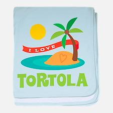 I Love Tortola baby blanket