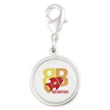 Rocket Ship Big Brother Silver Round Charm
