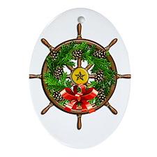Nautical Ships Wheel Wreath with B Ornament (Oval)