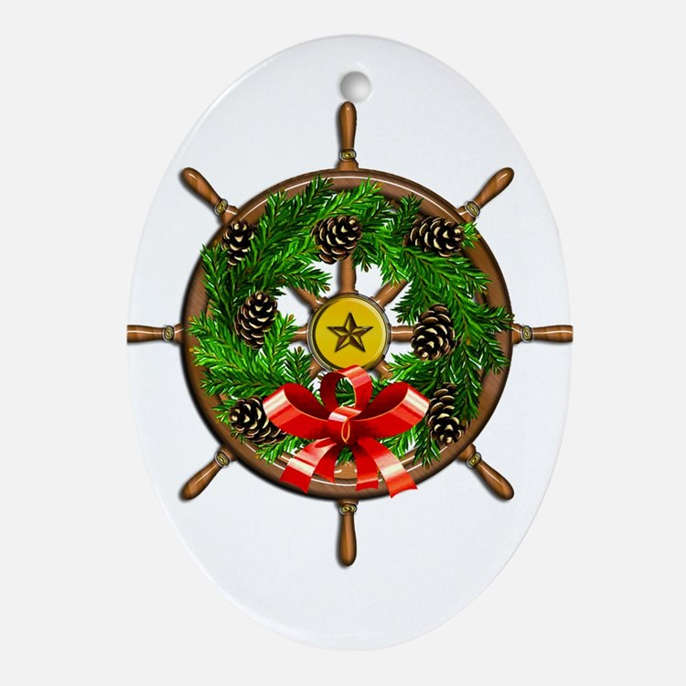 Nautical Ships Wheel Wreath with B Ornament (Oval)