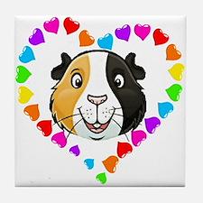 Guinea Pig Heart Frame Tile Coaster