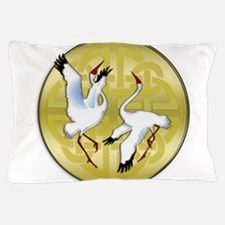 Asian Dancing Cranes on Gold Medallion Pillow Case