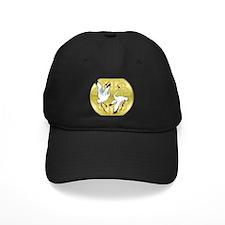 Asian Dancing Cranes on Gold Medallion Baseball Hat