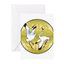 Asian Dancing Cranes on Gold Medall Greeting Cards