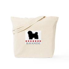 Havanese (red stars) Tote Bag