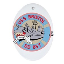 DD-857 A USS BRISTOL Destroyer Shi Ornament (Oval)